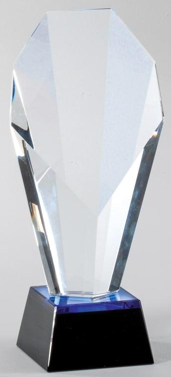 CRY634 Blue Slant Crystal Trophy