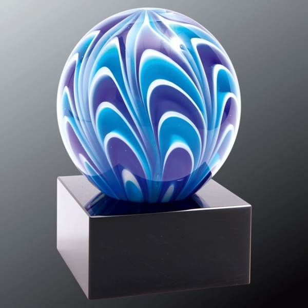 AGS55 Blue & White Sphere Art Glass