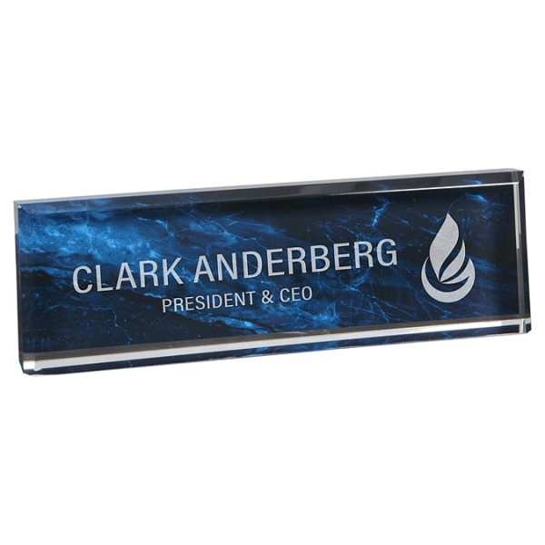 Blue Marble Acrylic Name Plate VLX873Y-BL