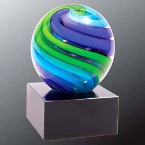 Blue & Green Glass Sphere AGS56, Glass sphere with blue & green colors swirled throughout, mounted on a black base