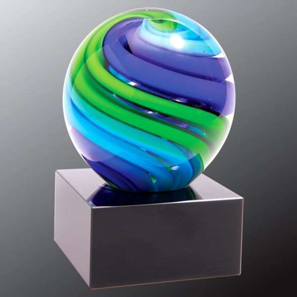Blue & Green Glass Sphere AGS56