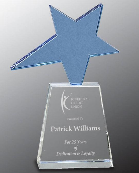 Blue Star Crystal Trophy CRY242