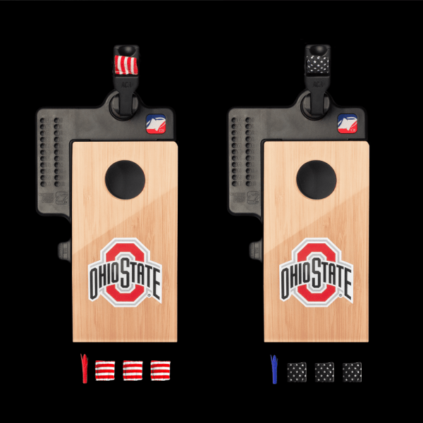View of everything that comes with the Ohio State Mini Cornhole Set
