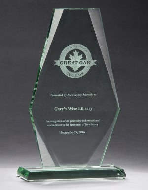 "Imperial glass award mad with 1/2"" thick glass, mounted on glass base, packaged in deluxe gift box"