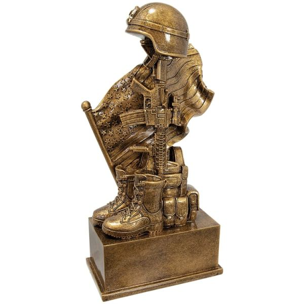 Fallen Solider Statue with helmet on gun, boots, American Flag & a place for engraving.