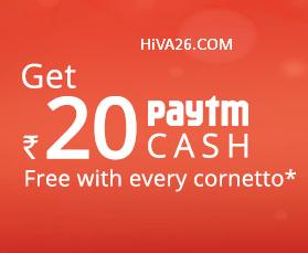 paytm cornetto offer hiva26