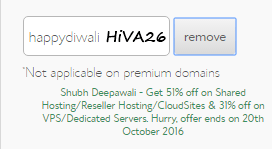 bluehost coupon happydiwali applied hiva26