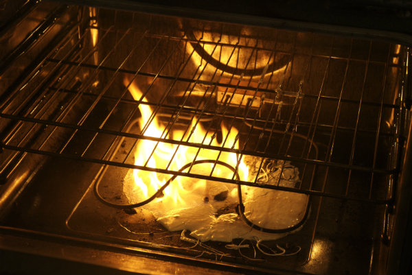 oven on fire