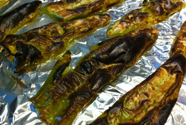 blackened chile peppers