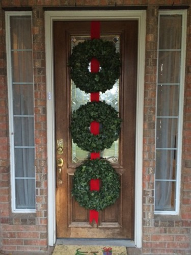 front door three wreaths