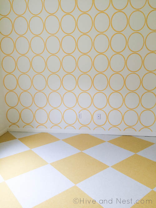 yellow white checkerboard floor