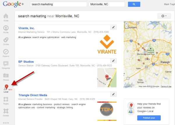 Google Plus Local Search