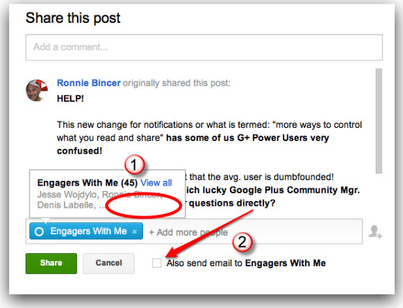 google plus notifications in sharing box