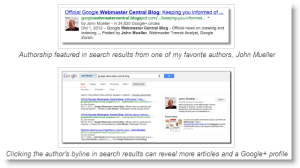 Google Authorship example search results