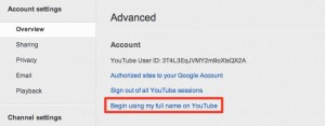 Change Name on YouTube Settings