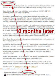 Casey Movers Yelp Response 13 months later