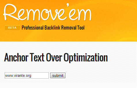 Anchor Text Over Optimization Tool