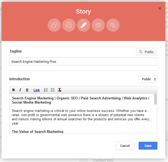 Edit Google Plus page sections
