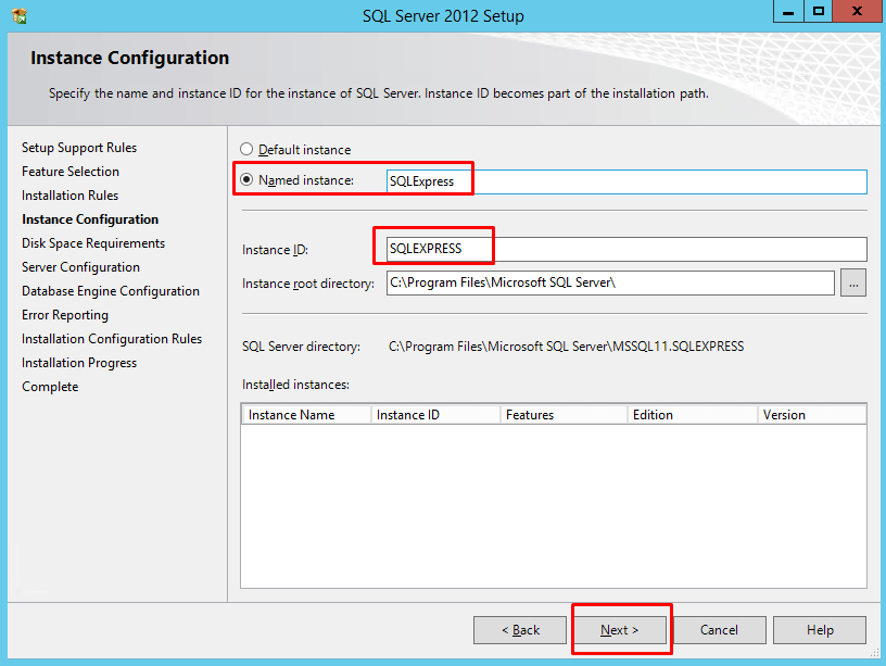 "Instance Configuration page with ""Named Instance"" highlighted"