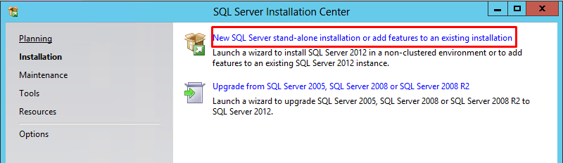 "SQL Server Installation Center window with ""New SQL Server Installation"" highlighted"