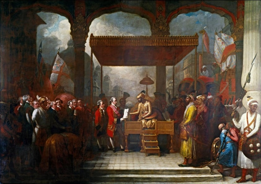 Shah 'Alam conveying the grant of the Diwani (tax rights from poeple under Mughal rule) to Lord Clive in 1761