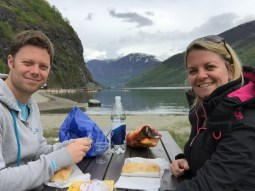 Lunch next to the Flåm Fjord