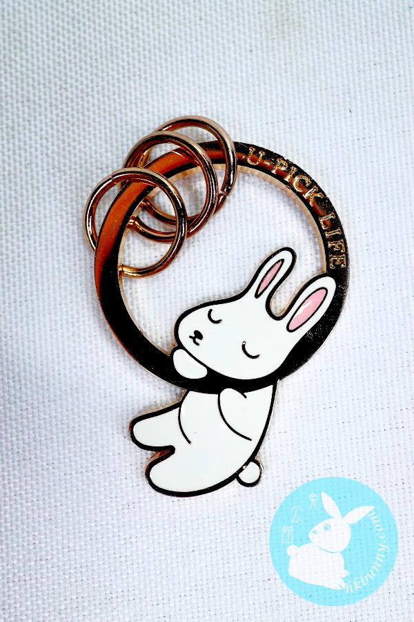 袍睡小兔鎖匙扣