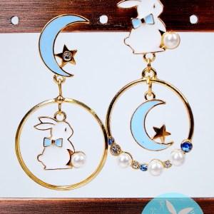 月與兔子耳環(藍色)