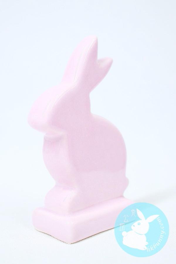 簡約風粉紅色小兔陶瓷小擺設