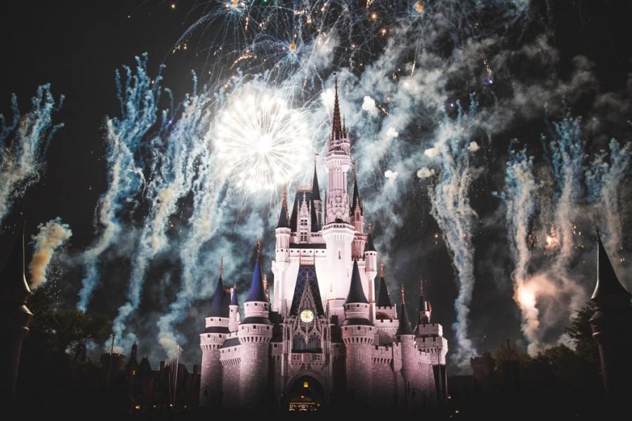Disney castle with fireworks