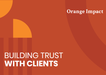 Red graphic header reading building trust with clients