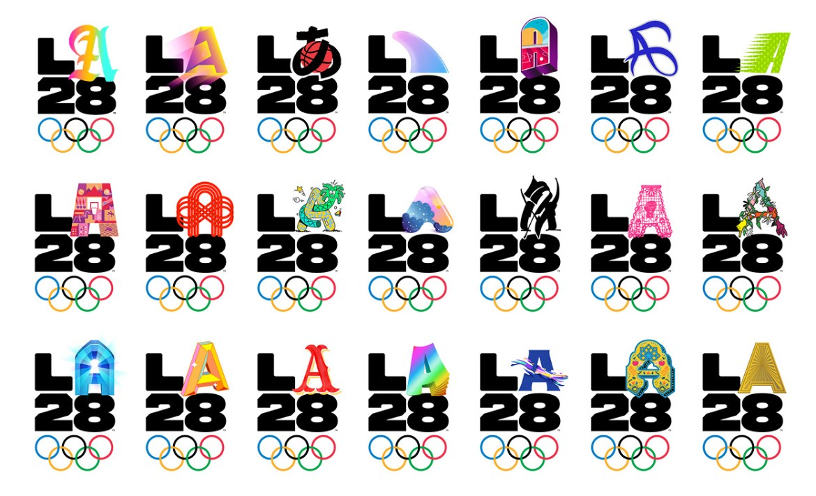Some of the LA28 Olympic Game emblems showcasing the dynamic A's/