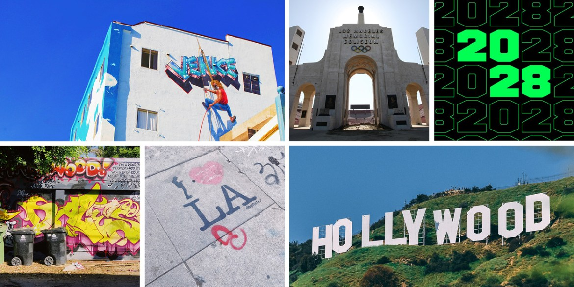 Street scenes in LA that inspired the LA28 Olympic Games emblem.