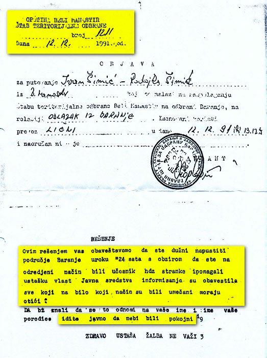 Andrija Hebrang - Beli Manastir - progon Hrvata