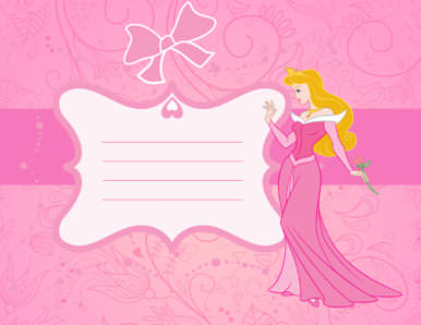 Blank Pink Kids Party Invitation With Princess