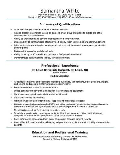 Medical Istant Resume Sample | Medical Resume Samples Resume Sample