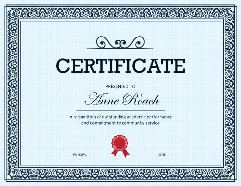academic achievement certificates