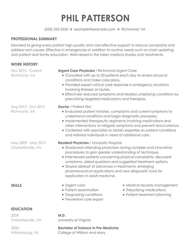 resume chronological format  resume sample
