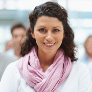Business group with focus on attractive executive standing in fr
