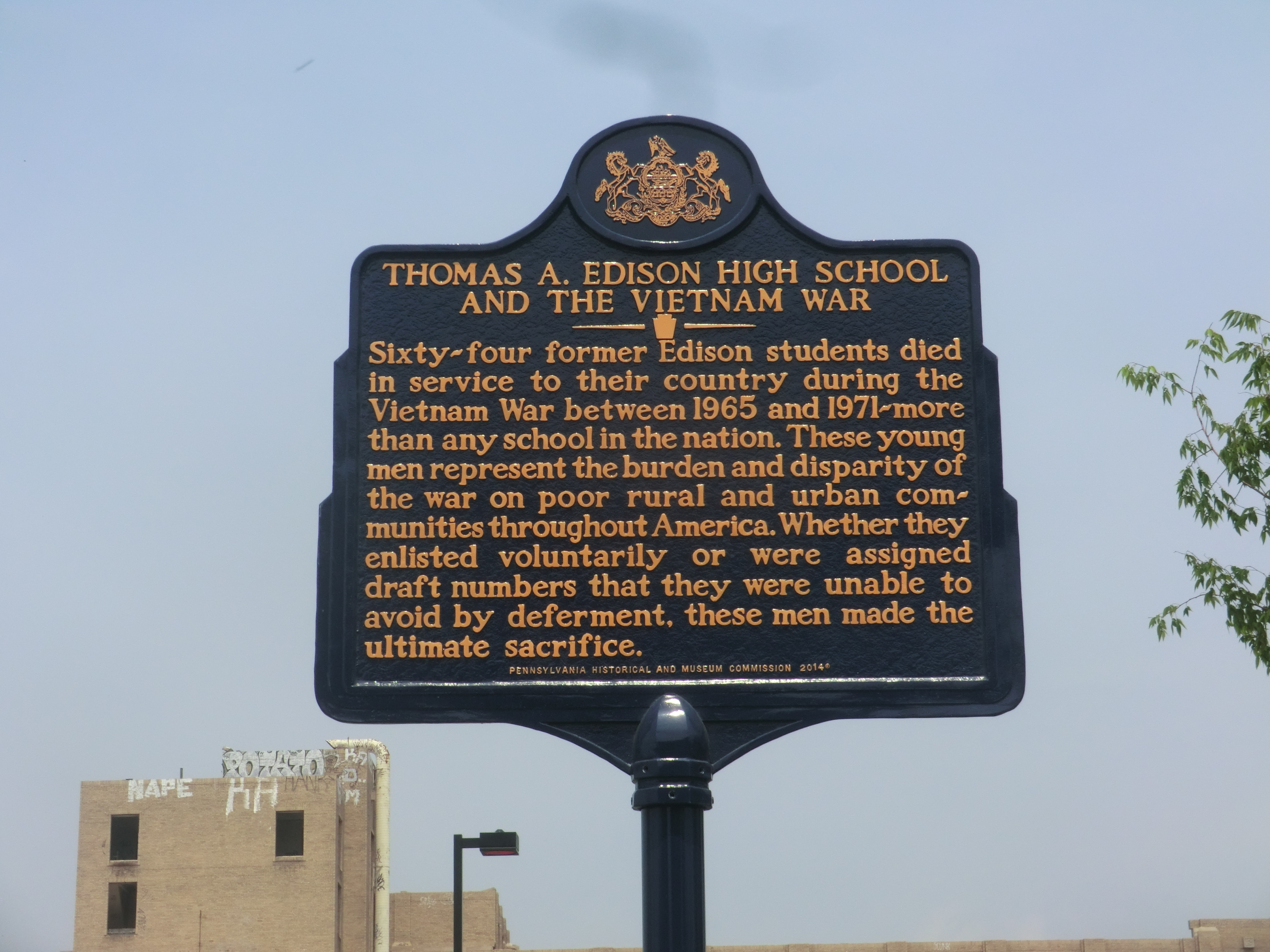 Photo Thomas A Edison High School And The Vietnam War Marker