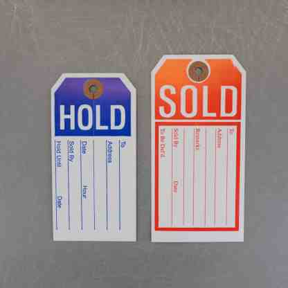 """""""Hold"""" and """"Sold"""" Product Tags"""