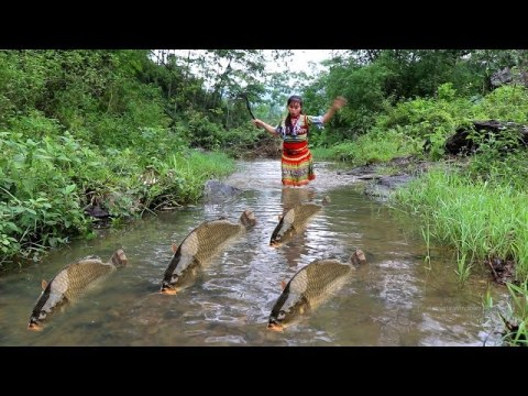 Survival Skills hmong - Build Fish Trap From Deep Hole Catch Big Fish Cooking Delicious Fish