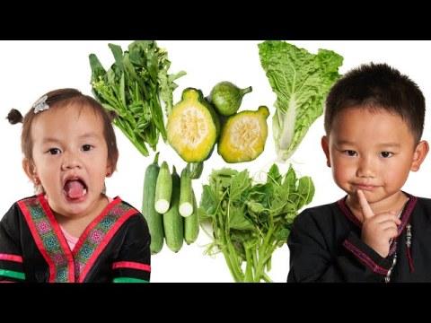 Learn vegetables for kids (educational), Hmong kids kawm txog Zaub & Taub