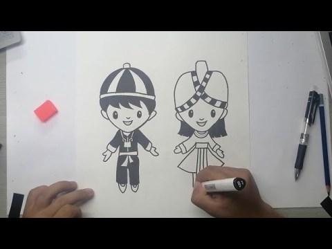 วาดรูปการ์ตูนม้ง | Drawing Hmoogcartoon | How to draw Hmongcartoon