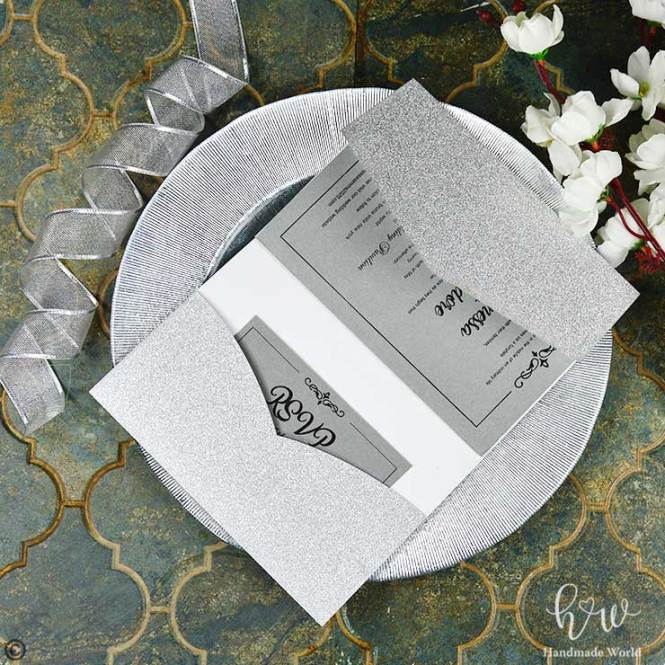 Perfect Smooth Glitter Wedding Invitation 5x7 Tri Prt Fgpdl