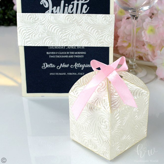 Excellent Swirl Pearlescent Embossed Paper Flat Box Bwr Mep06