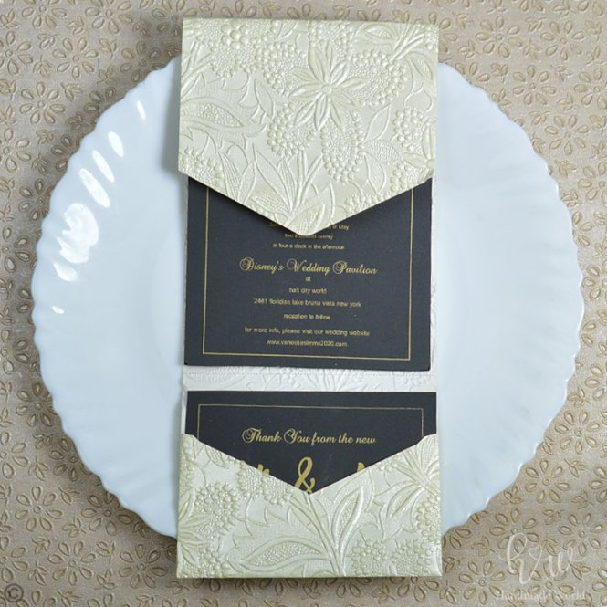 Beautiful Lace Pearlescent Textured Paper Tail Party Invitation 7x5 Ltri Prt14