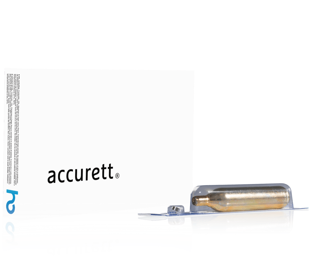 Box of 8g CO2 cartridges of Accurett
