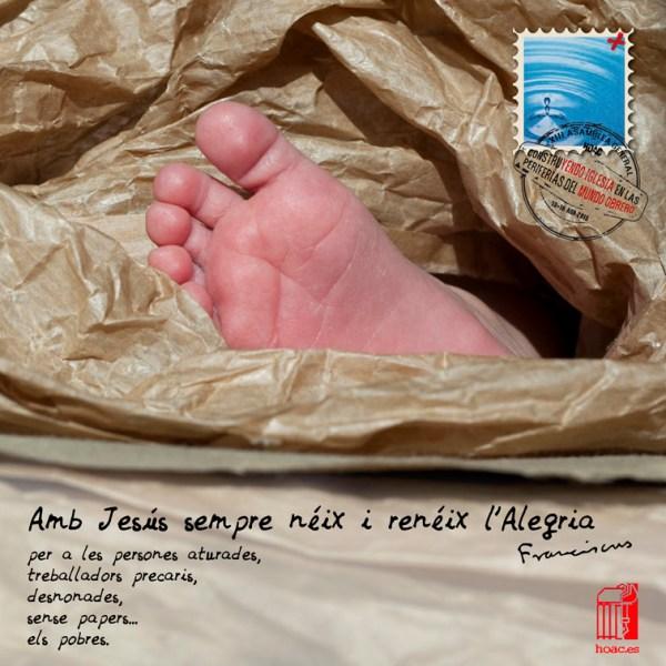 Fotos recurso del pie de Pablo para tarjeta de navidad de la HOAC