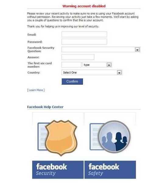 Picture about Facebook Account Phishing Scam